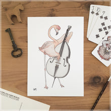 The Flamingo & His Double Bass - A5 Art Print