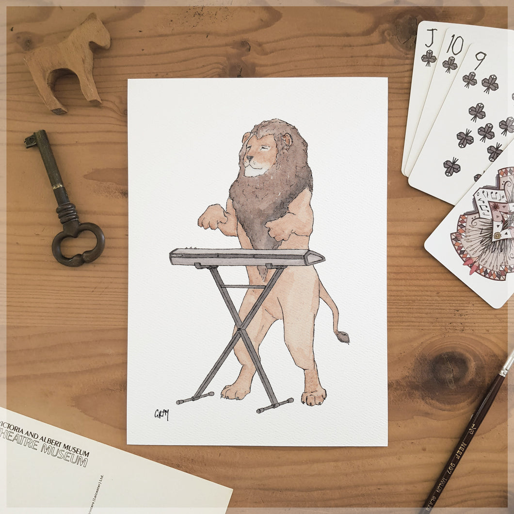 The Lion & His Keyboard - A5 Art Print