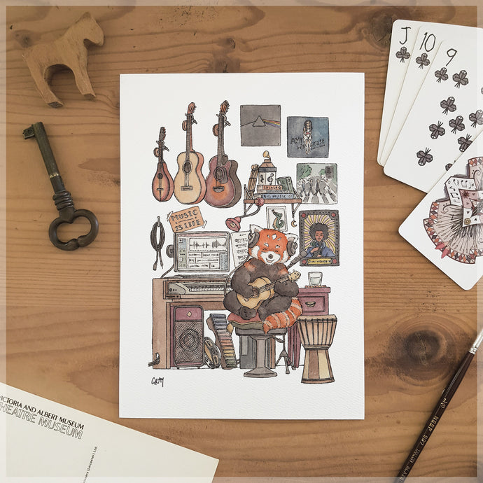 Red Panda's Music Room - A5 Art Print