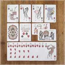 Hand Illustrated animal playing cards - African Musical Animals - 52 card deck