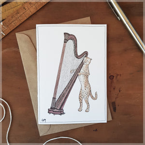 The Cheetah & Her Harp - Greeting Card