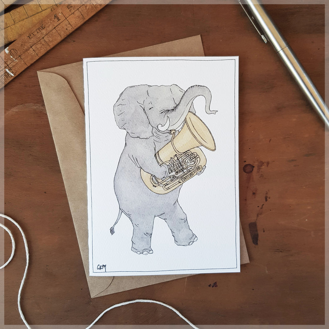 The Elephant and Her Tuba - Greeting Card