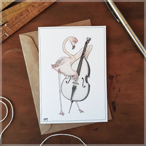 The Flamingo & His Double Bass - Greeting Card
