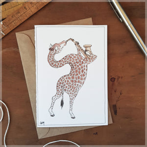 The Giraffe & Her Saxophone - Greeting Card