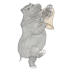 The Hippo and Her French Horn - Greeting Card