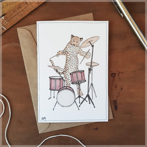 The Leopard & Her Drum Kit - Greeting Card