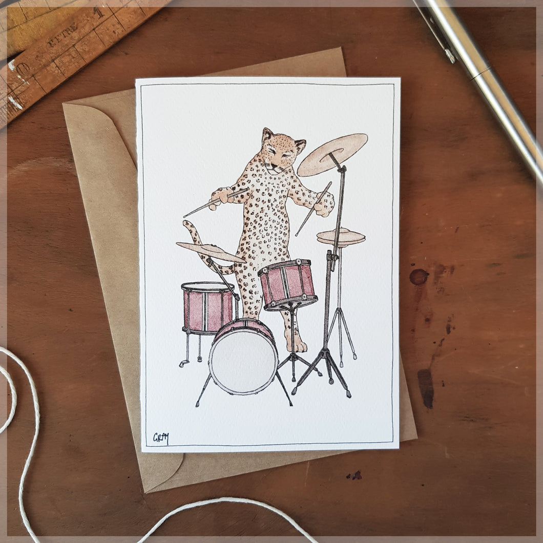 The Leopard & Her Drumkit - Greeting Card