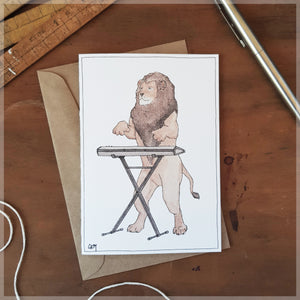 The Lion & His Keyboard - Greeting Card