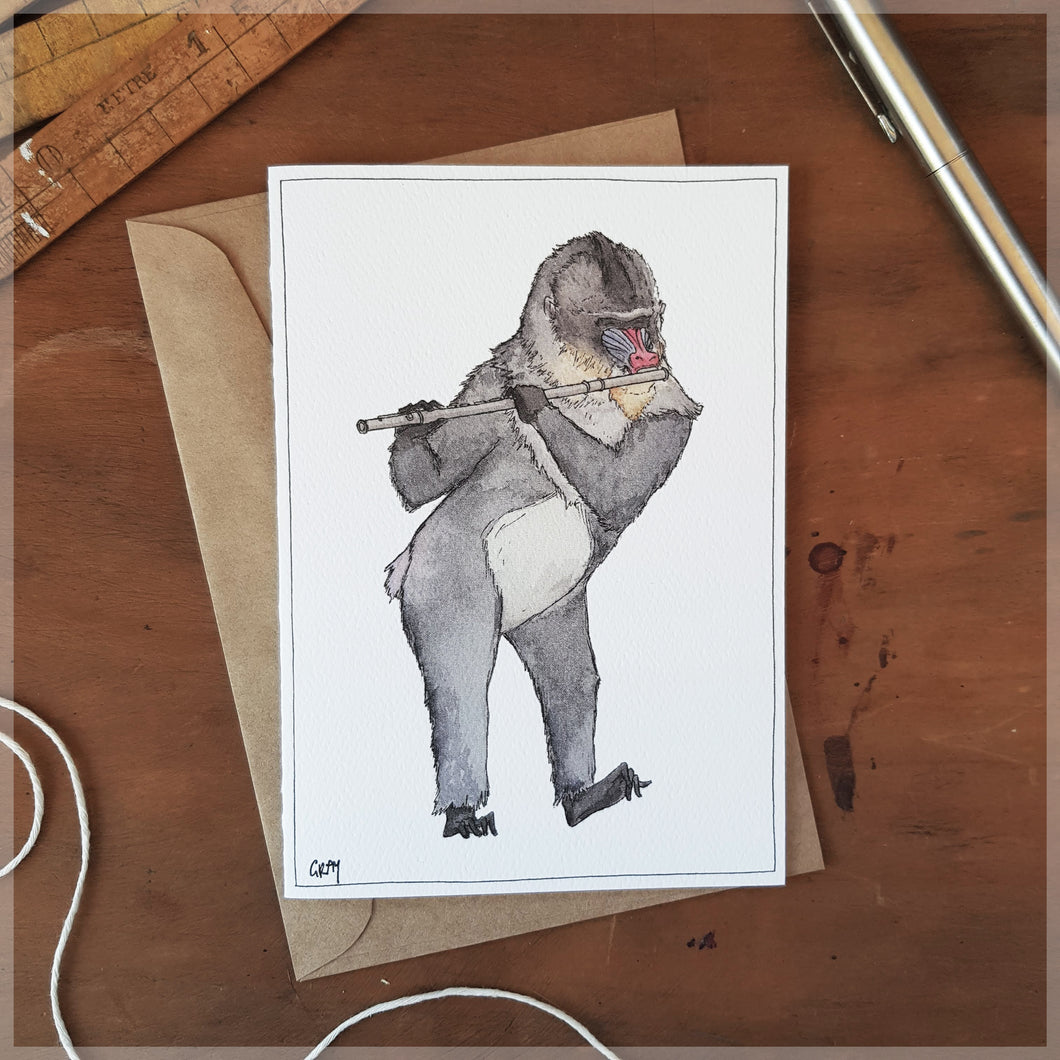 The Mandrill & His Flute - Greeting Card
