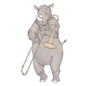 The Rhino and His Trombone - Greeting Card