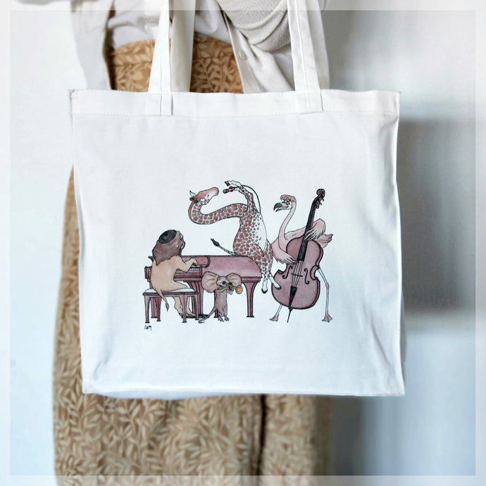 A white, 100% cotton tote bag featuring the Jazz Swingers, our favourite animal band. Illustrations by Stephanie Gray.