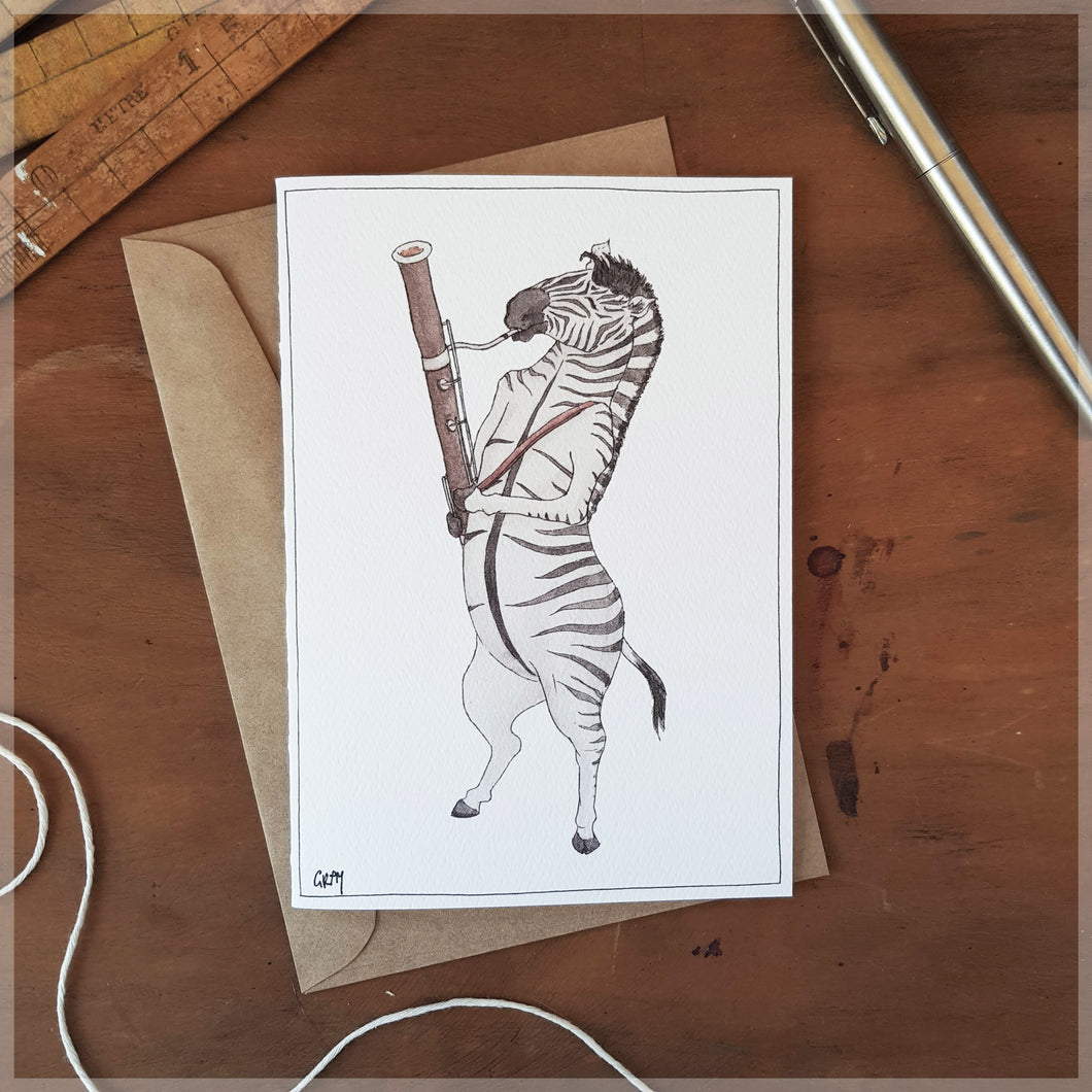The Zebra & Her Bassoon - Greeting Card