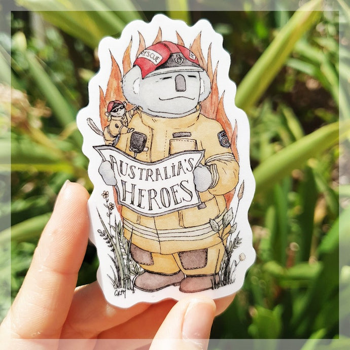 A Koala firefighter with his sugar glider assistant sitting on his shoulder. This is a sticker we sell to raise money and awareness for Australia fire relief.