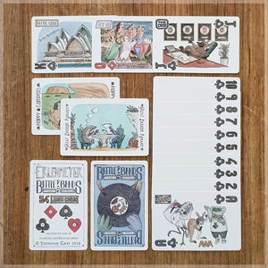 Battle of the bands hand Illustrated playing card pack - Australian musical animal themed - 52 card deck with two jokers