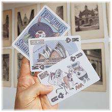 Hand Illustrated playing card pack featuring Sydney Opera house and an Australian hip hop band