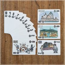Hand Illustrated playing cards showing the suit of spades. The cards show an animal rock band touring Australia.