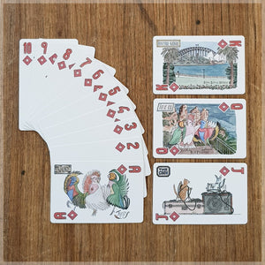 Hand Illustrated playing cards showing the suit of diamonds. The cards show all female animal pop band touring Australia.