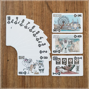Hand Illustrated playing cards showing the suit of clubs. The cards show an animal hip hop band touring Australia.