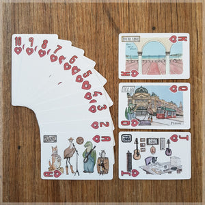 Hand Illustrated playing cards showing the suit of hearts. The cards show an animal country and western band touring Australia.