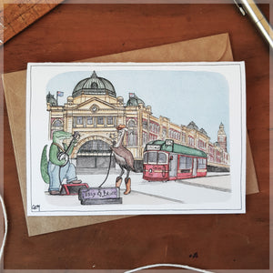 Busking in Melbourne - Greeting Card