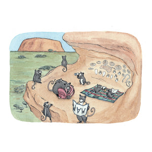 Exploring Uluru - Greeting Card