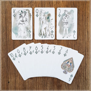 Hand Illustrated Burlesque playing cards showing the suit of spades