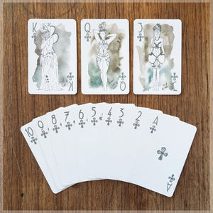 Hand Illustrated Burlesque playing cards showing the suit of clubs