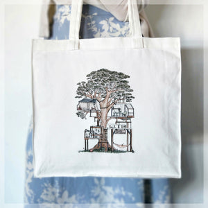 Treehouse with 10 Hidden Cats - Tote Bag