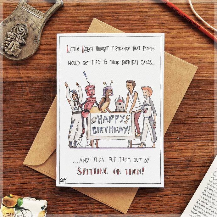 Cake on Fire - Greeting Card