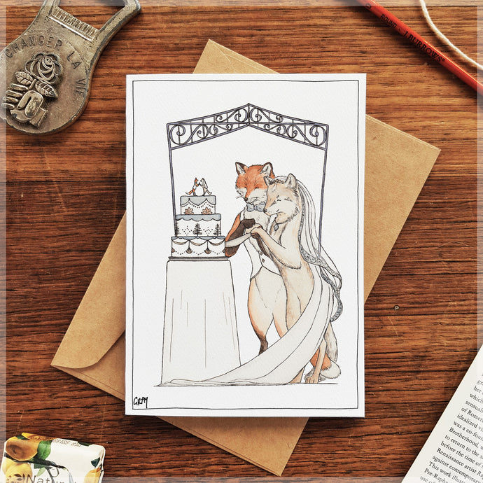 Fox and Wolf Wedding - Greeting Card