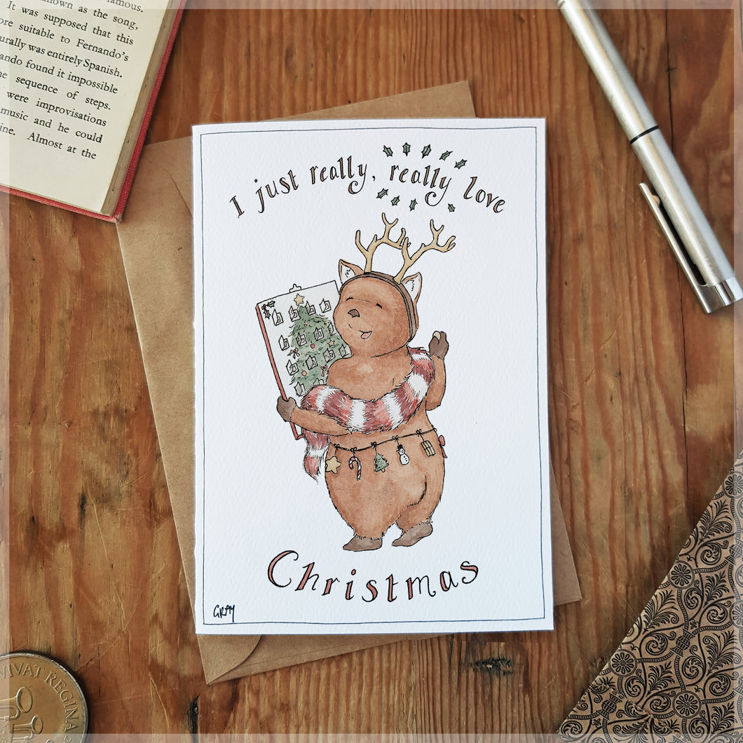 Christmas Wombat - Greeting Card