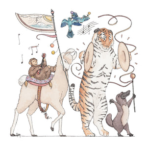 A llama, a monkey, a tiger, a platypus and some blue birds performing a special parade. Illustrations by Stephanie Gray.