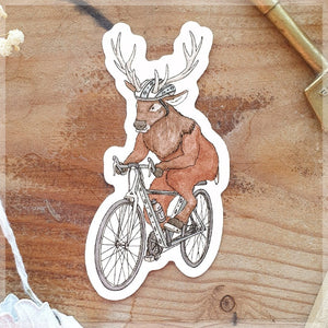 Drawing of a cycling stag