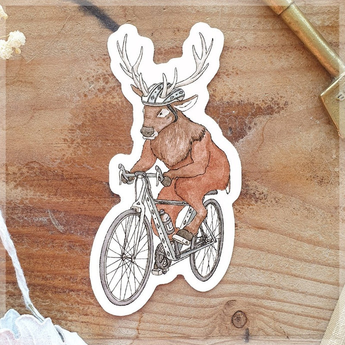 Cycling Stag ~ Vinyl Sticker