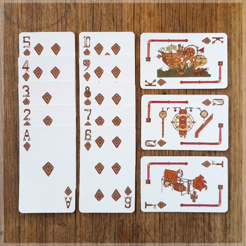 Steampunk Hand Illustrated Playing Card Pack Machinery Robots