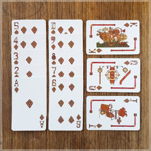 Hand Illustrated Steampunk playing cards showing the suit of diamonds. The picture cards show the engine room, cockpit and the full ship.