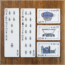 Hand Illustrated Steampunk playing cards showing the suit of clubs. The picture cards show the engine room, cockpit and the full ship.