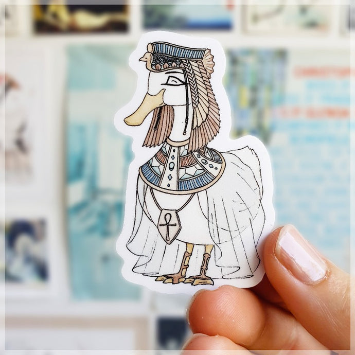 Cleoquackua the history loving duck dressed up as her favorite Egyptian historical figure.