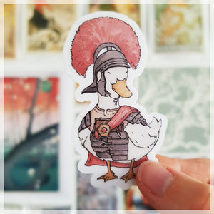 Maximus Quackus the history loving duck dressed up as his favorite historical roman leader.