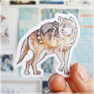 Wolf & Raccoon - Vinyl Sticker