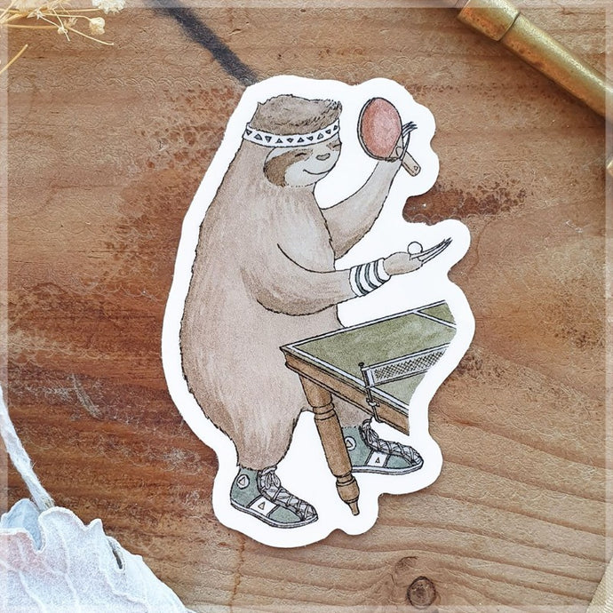 drawing of a sloth playing table-tennis