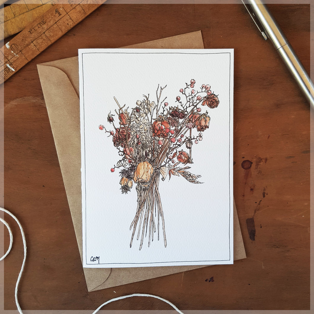 Dried Bouquet Red - Greeting Card