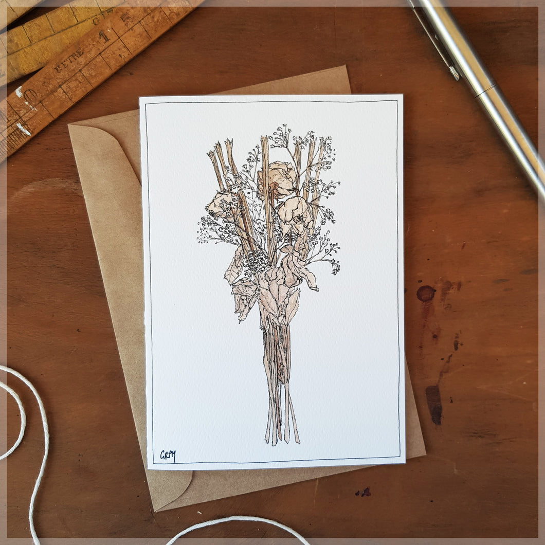 Dried Bouquet White - Greeting Card
