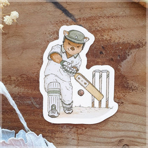 drawing of a wombat playing cricket