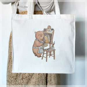 Wombat with a Pearl Earring - Tote Bag
