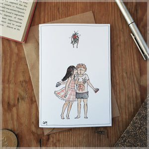 First Kiss at Christmas - Christmas Card