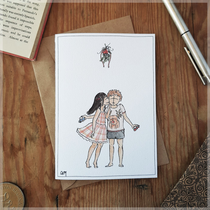 First Kiss at Christmas - Greeting Card