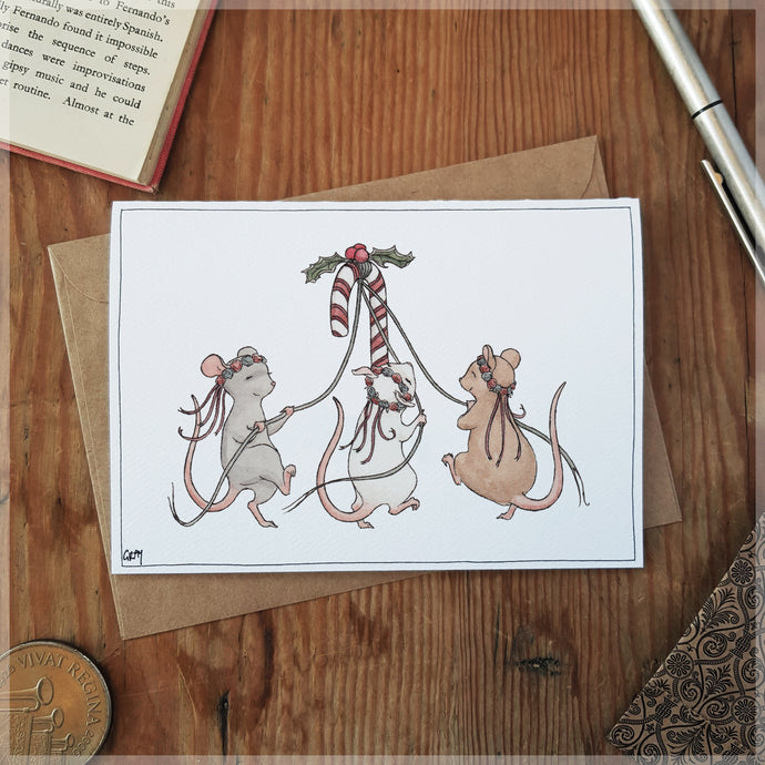 Three Festive Mice - Greeting Card