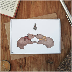 The Wombat Nose-Nuzzle - Christmas Card