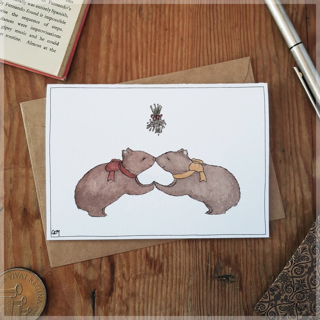 The Wombat Nose-Nuzzle - Greeting Card